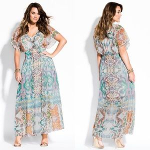 City Chic Casablanca Multi Print Maxi Dress